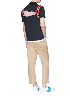 Valentino Chenille logo patch stripe shoulder polo shirt