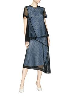Victoria Beckham Floral guipure lace panel silk satin asymmetric midi skirt
