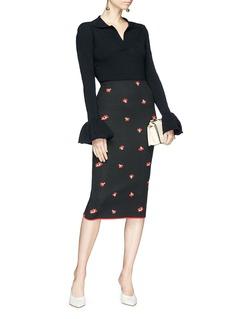 Victoria Beckham Poppy floral jacquard pencil skirt