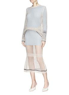 Victoria Beckham Flared mesh midi skirt