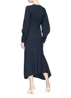 Victoria Beckham Drape sleeve asymmetric textured sablé midi dress