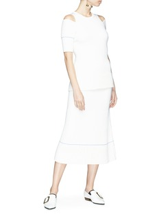 Victoria Beckham Virgin wool blend rib knit midi skirt