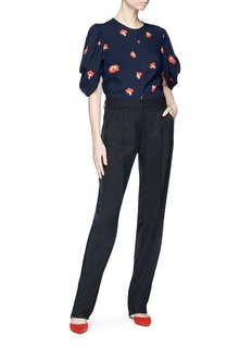Victoria Beckham Drape sleeve poppy print crepe top