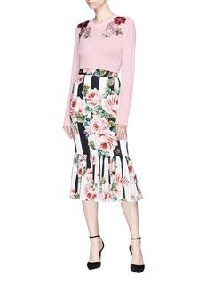 Dolce & Gabbana Floral appliqué cashmere sweater