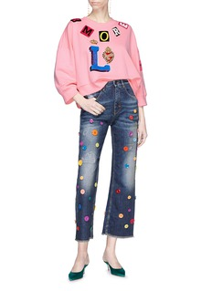 Dolce & Gabbana Button embellished Pretty Fit cropped flared jeans