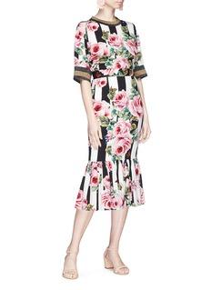 DOLCE & GABBANA 花卉蝴蝶拼色条纹真丝鱼尾裙