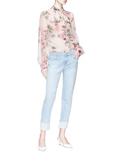 Dolce & Gabbana Pussybow rose print chiffon blouse