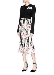 Dolce & Gabbana Floral brooch logo patch cashmere cardigan