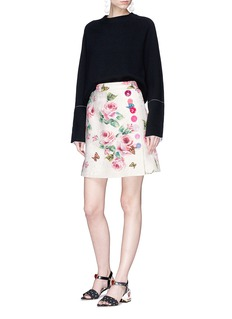 Dolce & Gabbana Rose print brocade mock wrap mini skirt