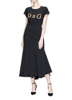 Dolce & Gabbana Floral logo bullion patch silk crepe top