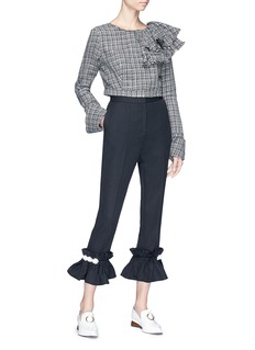 CAR|2IE Ruffle cuff micro check cropped suiting pants