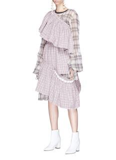 CAR|2IE Off-shoulder ruffle asymmetric tweed dress