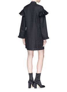 CAR|2IE Neck tie houndstooth jacquard mini dress