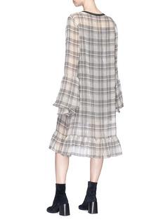 CAR|2IE 荷叶边透视薄纱格纹连衣裙