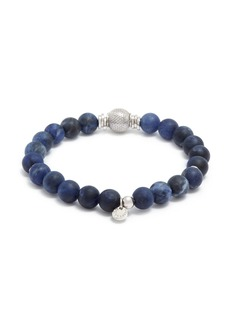 Tateossian 'Stonehenge' sodalite silver bead bracelet