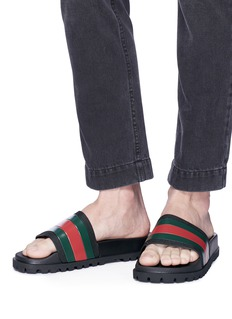 Gucci Web stripe slide sandals
