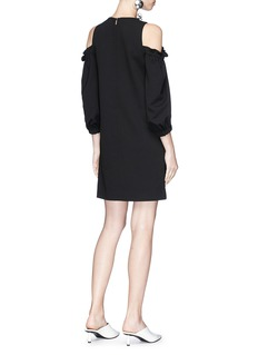 Tibi Ruffle cold-shoulder suiting dress