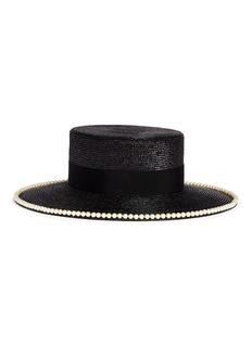 Gucci Glass pearl logo brooch straw boater hat