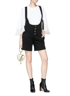 Chloé Scalloped placket virgin wool suiting short overalls