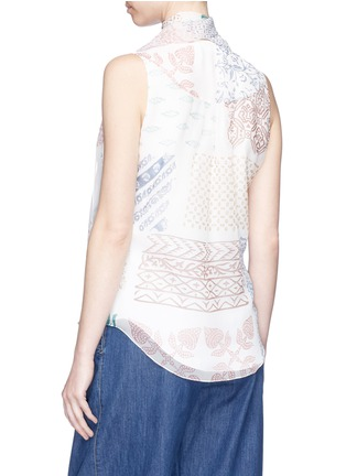 Back View - Click To Enlarge - Chloé - 'Haut' neck tie graphic print silk georgette wrap top