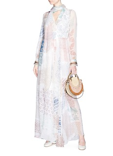 Chloé Tie neck graphic print silk georgette maxi dress