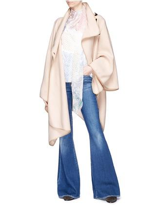 Figure View - Click To Enlarge - Chloé - 'Manteau' buttoned virgin wool blend herringbone cape