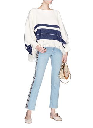 Figure View - Click To Enlarge - Chloé - Fringe hem stripe sweater