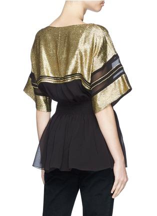 Back View - Click To Enlarge - Chloé - Metallic yoke mock corset peplum top