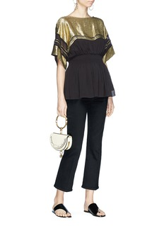 Chloé Metallic yoke mock corset peplum top