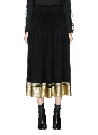Main View - Click To Enlarge - Chloé - Smocked waist lamé hem crepe midi skirt