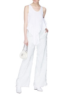 Chloé Frayed embroidered wide leg jeans