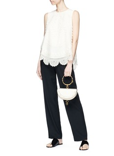 Chloé Scalloped tribal embroidered sleeveless mesh top