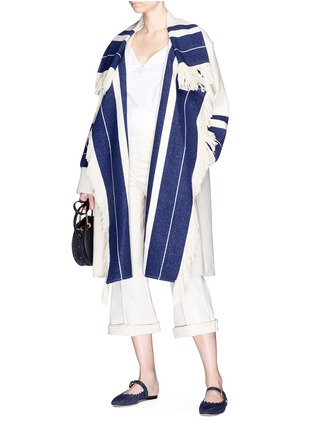 Figure View - Click To Enlarge - Chloé - Fringe stripe knit coat