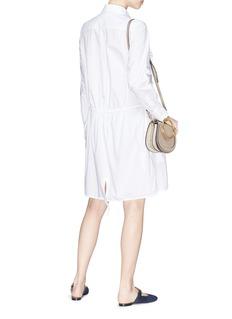 CHLOÉ 蕾丝荷叶边衣襟纯棉衬衫裙