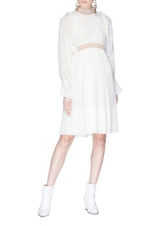 Chloé Ruffle trim beaded cotton-silk crépon dress