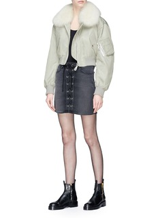 Army By Yves Salomon Detachable fox fur collar rabbit fur liner cropped satin bomber jacket