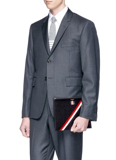 Thom Browne Diagonal stripe leather document holder