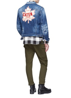 Dsquared2 Mixed badge washed denim jacket