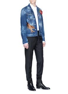 Dsquared2 Leopard floral patch washed denim jacket