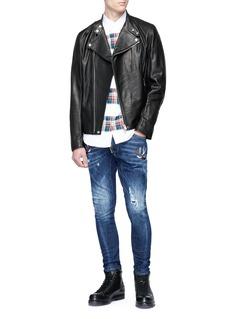 Dsquared2 'Tidy Biker' bird appliqué jeans