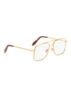 Victoria Beckham 'Grooved Optical Navigator' double bridge metal square glasses