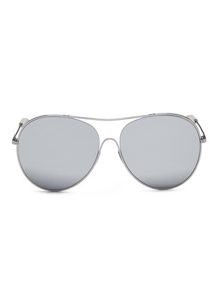 Main View - Click To Enlarge - Victoria Beckham - 'Loop Round' metal mirror aviator sunglasses