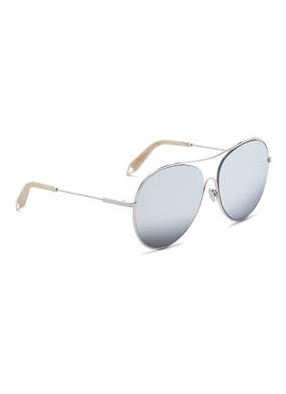 Figure View - Click To Enlarge - Victoria Beckham - 'Loop Round' metal mirror aviator sunglasses