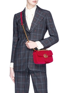 Gucci 'GG Marmont' mini quilted velvet crossbody bag