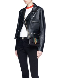 Gucci 'Sylvie' mini chain Web leather crossbody bag