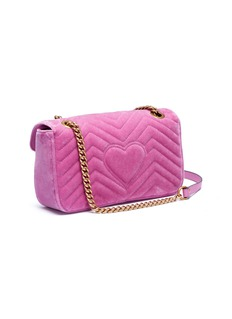 Gucci 'GG Marmont' glass crystal small quilted velvet crossbody bag