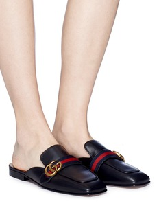 Gucci 'Peyton' web stripe leather loafer slides