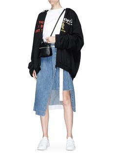 Kara 'Satchel' micro pebbled leather crossbody bag