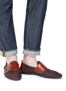 CASABLANCA1942 'Monakus' leather panel woven raffia step-in loafers