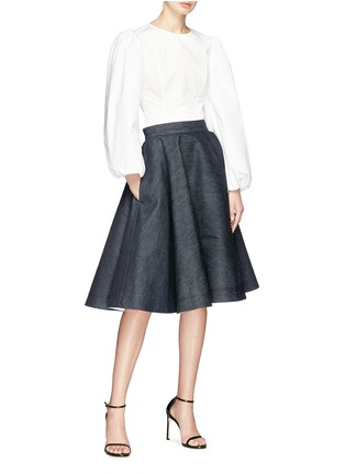 Figure View - Click To Enlarge - CALVIN KLEIN 205W39NYC - Flared denim skirt
